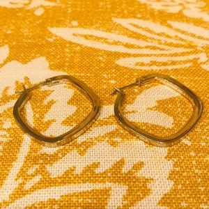 Gold Rounded Square Hoop Earrings